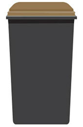 Black bin with brown lid